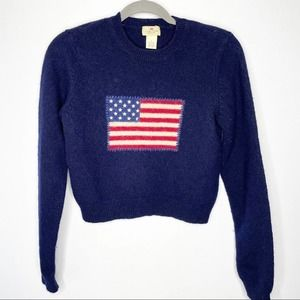 Vintage Limited America Size S Wool Flag Crop Sweater